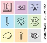 set of 9 simple editable icons...   Shutterstock .eps vector #1132258955