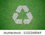 white recycle logo painted on...   Shutterstock . vector #1132268069