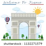 welcome to france arch de... | Shutterstock .eps vector #1132271579