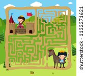 prince and princes puzzle maze... | Shutterstock .eps vector #1132271621