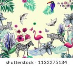 exotic animals and palm leaves  ... | Shutterstock . vector #1132275134