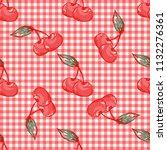 vector cherry pattern on white...   Shutterstock .eps vector #1132276361
