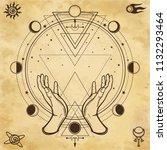 mysterious drawing  human hands ... | Shutterstock .eps vector #1132293464
