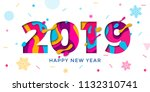 happy new year 2019 greeting... | Shutterstock .eps vector #1132310741