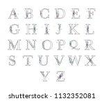 wedding floral alphabet.... | Shutterstock .eps vector #1132352081