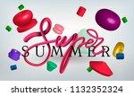 set of 3d realistic geometric... | Shutterstock .eps vector #1132352324