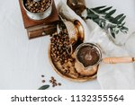 hot coffee in turkish cooper... | Shutterstock . vector #1132355564