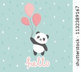 panda vector print  baby shower ... | Shutterstock .eps vector #1132389167