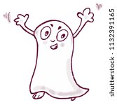 funny ghost cartoon character... | Shutterstock .eps vector #1132391165