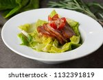 smoked duck salad on table   Shutterstock . vector #1132391819