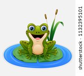 cartoon frog on a leaf in the... | Shutterstock .eps vector #1132395101