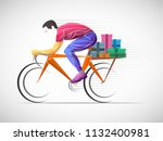 city bike food delivering... | Shutterstock .eps vector #1132400981