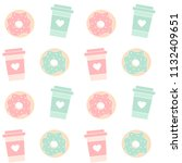 cute colorful donuts and coffee ... | Shutterstock .eps vector #1132409651
