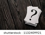stack of question mark cards on ... | Shutterstock . vector #1132409921