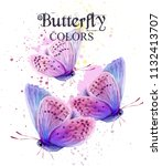butterflies watercolor card... | Shutterstock .eps vector #1132413707