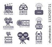 cinema labels set. badges with... | Shutterstock .eps vector #1132420721