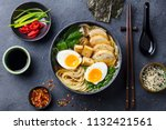 asian noodle soup  ramen with... | Shutterstock . vector #1132421561