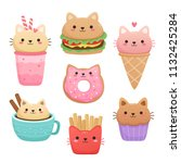 Stock vector  illustrations of food in the shape of a cute cat milkshake ice cream donut hamburger muffin 1132425284