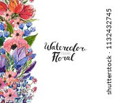 watercolor floral background....   Shutterstock . vector #1132432745