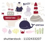sea set with cute funny bear... | Shutterstock .eps vector #1132433207