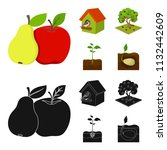 garden  farming  nature and... | Shutterstock .eps vector #1132442609