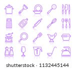 kitchenware thin line icons set.... | Shutterstock .eps vector #1132445144