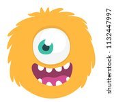 happy cartoon monster head... | Shutterstock .eps vector #1132447997