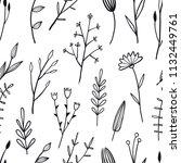 flower simple seamless pattern... | Shutterstock .eps vector #1132449761
