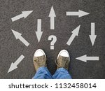 feet standing on asphalt with... | Shutterstock . vector #1132458014