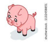 pig cub isometric cute 3d swine ... | Shutterstock .eps vector #1132458851