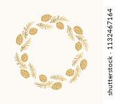christmas golden wreath. hand... | Shutterstock .eps vector #1132467164