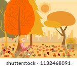 flat drawing vector cute girl... | Shutterstock .eps vector #1132468091