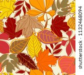 hand drawn autumn leaves... | Shutterstock .eps vector #1132468094