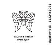 vector owl moth linear icon | Shutterstock .eps vector #1132469081