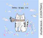 cute vector cartoon kawaii cat...   Shutterstock .eps vector #1132470641