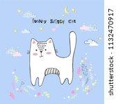 cute vector cartoon kawaii cat...   Shutterstock .eps vector #1132470917