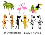 jungle animals and palm trees....   Shutterstock .eps vector #1132471481