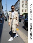 milan   june 17  man with long... | Shutterstock . vector #1132484777