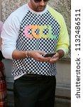milan   june 17  man with black ... | Shutterstock . vector #1132486511