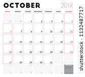 calendar planner for october... | Shutterstock .eps vector #1132487717