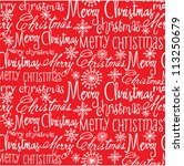 vector christmas words seamless ... | Shutterstock .eps vector #113250679