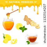 vector set of natural remedies... | Shutterstock .eps vector #1132514207
