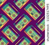 boombox retro pattern seamless. ... | Shutterstock .eps vector #1132517495