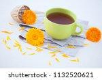 marigold or calendula herbal... | Shutterstock . vector #1132520621