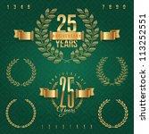 anniversary golden emblems and... | Shutterstock .eps vector #113252551