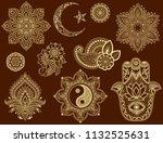 big set of mehndi flower... | Shutterstock .eps vector #1132525631