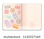 realistic open foreign passport ... | Shutterstock .eps vector #1132527164