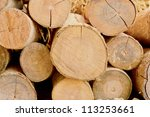 Stack Of Cut Timber Logs...