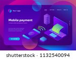 online mobile payment with... | Shutterstock .eps vector #1132540094