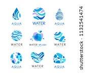 set of blue aqua logos. labels... | Shutterstock .eps vector #1132541474